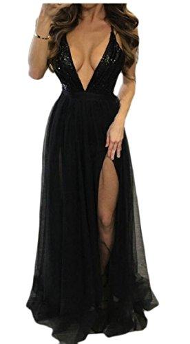Jaycargogo Femmes Profonde Sexy Sangle V Paillettes Backless Partie Haute Club Robe Fendue Noir