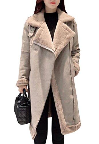 Fensajomon Womens Winter Faux Suede Faux Fur Lined Long Trench Pea Coat Outwear Khaki M (Suede Jacket Coat Long Winter)