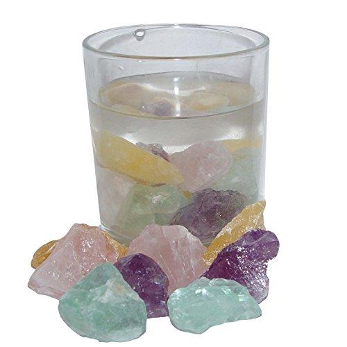 Edelsteinwasser Wassersteine Mischung für ERHOLSAMEN und STRESSFREIEN SCHLAF aus Rosenquarz Amethyst Fluorit und Calcit.(3951)