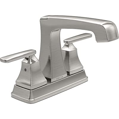 Delta 2564-SSTP-DST Ashlyn Two Lever Handle Centerset Bathroom Faucet with Plastic Pop-Up Drain, Stainless