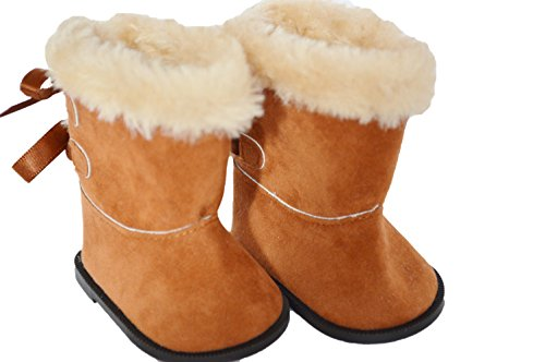 (Brittany's Brown Bow Boots Compatible with American Girl Dolls- 18 Inch Doll Boots)