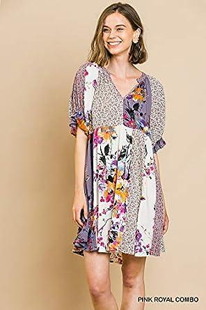 Umgee Womens Mixed Floral Babydoll Ruffle Sleeve Dress