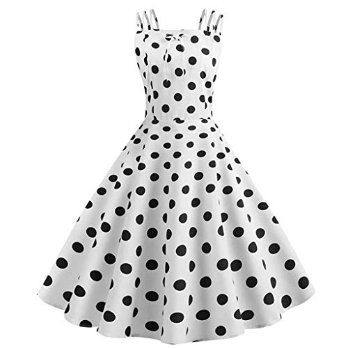 (Women Dresses for Special Occasions St.Dona Ladies Vintage Princess Dot Printed Cocktail O-Neck Bandage Party Aline Dress)