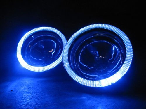 (Blue Halo Fog Lamps Angel Eye Driving Lights Kit Pair for 2014-2019 Kia Soul)