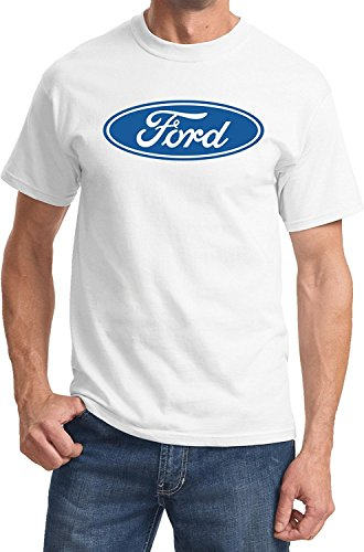 Ford Oval Logo Emblem T-Shirt Ford Men's Shirts, White, L