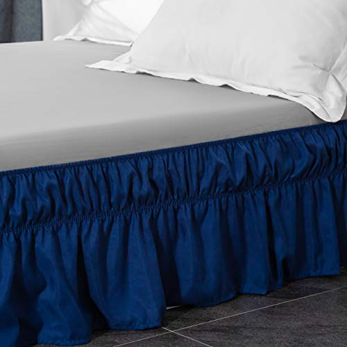 Bed Skirt-14 Inch Drop Wrap Around Ruffled Brushed Microfiber 1500 Adjustable Elastic Easy Fit AYASW Twin//Full,Coral
