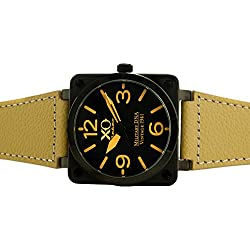 Brand New XO Retro Mens Watch P-51 MUSTANG Military DNA Square Collection Black Dial Khaki Strap 01S