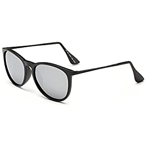IALUKU Vintage Polarized Wayfarer Sunglasses for Woman Man, 100% UV Blocking (Black / Quicksilver, 57)
