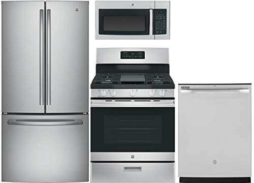 GE 4 Pcs Kitchen Package With JGBS66REKSS 30Gas Freestanding Range, JVM3160RFSS over the Range Microwave, GNE25JSKSS 33fridge and GDT605PSMSS 24 Built In Fully Integr. Dishwasher In Stainless Steel
