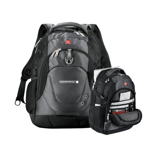 Queensborough Comm Wenger Swiss Army Tech Charcoal Compu Backpack 'Official Logo' by CollegeFanGear