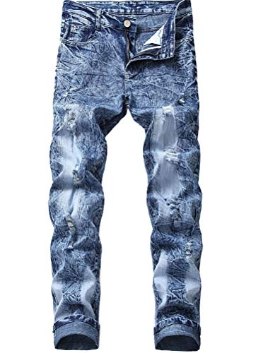 Lavnis Men's Distressed Ripped Jeans Casual Long Straight Slim Fit Skinny Denim Jeans 32 Blue