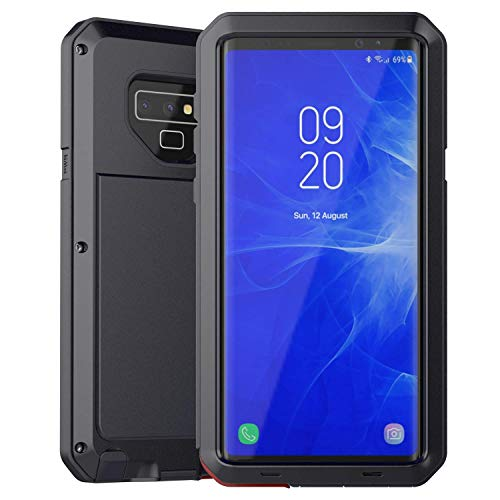 Casa Alloy Aluminum Metal Case for Galaxy Note 9, Armor Shockproof Extreme Hybrid Armor Full Body Military Rugged Heavy Duty Dual Layer Screw Bumper Cover for Samsung Galaxy Note 9 (Black) (Note 3 Metal Bumper Case)