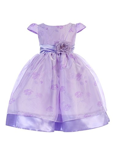 Ellie Kids Little Girls Lilac Floral Accent Cap Sleeve Flower Girl Dress 4