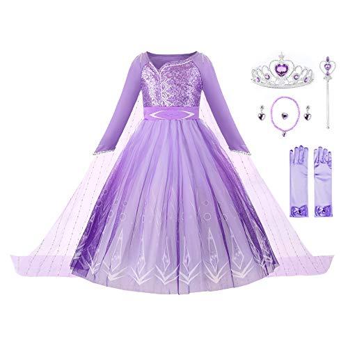 JerrisApparel Meisje Prinses Kostuum Pailletten Sneeuw Carnaval Kerstfeest Jurk