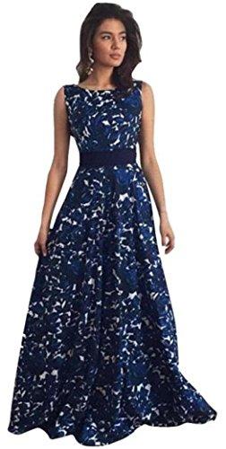 Ouneed Las mujeres florales de largo baile formal vestido de fiesta balón vestido de fiesta de la noche vestido de novia Azul