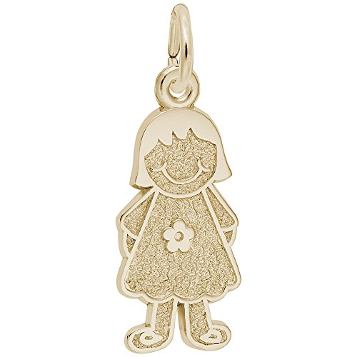 Rembrandt Charms, Girl with Flower Dress, 22k Yellow Gold Plated Silver, Engravable