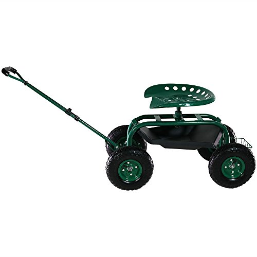 Sunnydaze Garden Cart Rolling Scooter with Extendable Steering Handle, Swivel Seat & Utility Basket, Green by Sunnydaze Decor (Image #4)