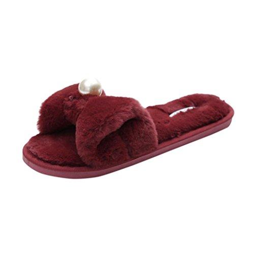 Hot!Yanhoo Womens Ladies Slip On Sliders Fluffy Faux Fur Flat Slipper Flip Flop Sandal (37, Wine)
