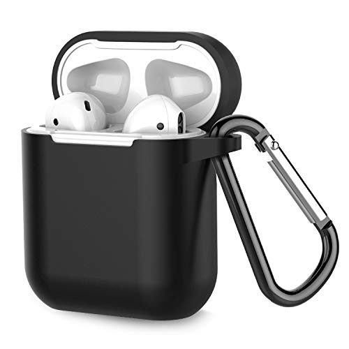 Coffea Airpods Case, AirPods Accessories Shockproof Case Cover Portable & Protective Silicone Skin Cover Case for Apple Airpods 2 &1 (Front LED Not Visible) - Black
