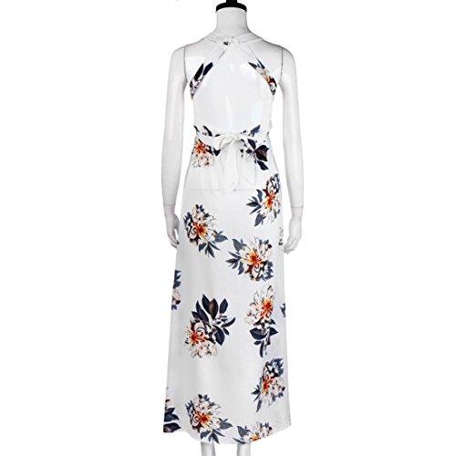 Vestidos de verano,Vovotrade Mujer Floral sin mangas de gasa vestido de playa Boho largo Blanco