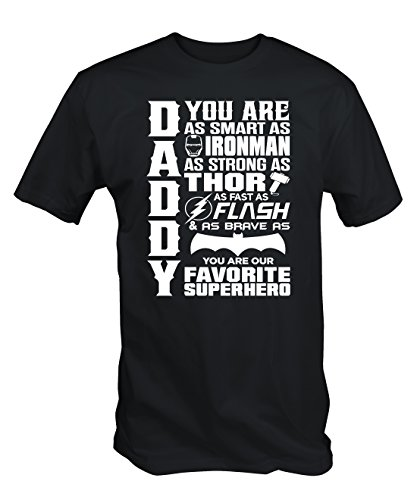 6TN Mens Daddy Superhero T Shirt (XX-Large) Black