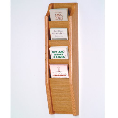 DMD Wall Mount Brochure Rack, 4 Pocket Literature Display Rack with Light Oak Wood Finish