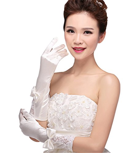 Pretydress Bridal Bowknot Glove Long Lace for Wedding Party (White)