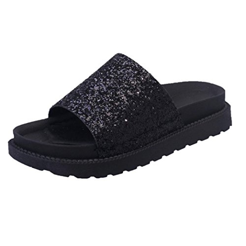 Pointed hollow out breathable flat sandals women black - 2