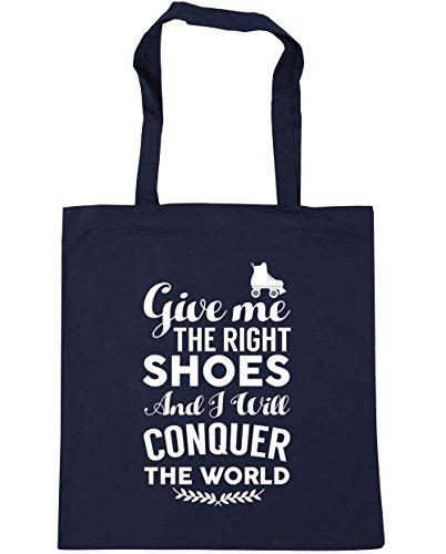 HippoWarehouse me da el derecho zapatos y voy a conquistar el mundo patines bolsa de la compra bolsa de playa 42cm x38cm, 10litros azul marino