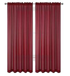 "WPM 2 Piece Beautiful Sheer Window Elegance Curtains/drape/panels/treatment 60"" w X 84"" l"