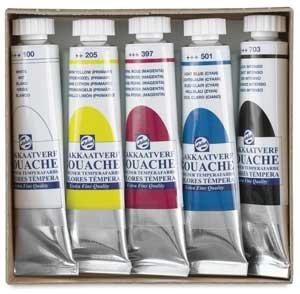 Gouache Royal Talens Angora Watercolor Paints, Set of 5 Colors