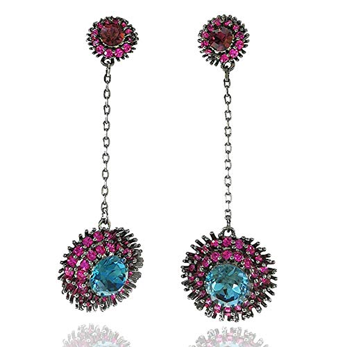 Drop and Dangle Women Earrings With Shining Cubic Zirconia, Multicolor Design with Gift Box Packing