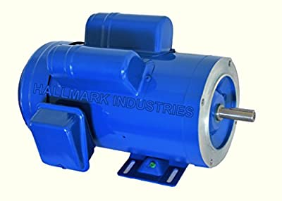 Hallmark Industries MA0520A AC Motor, 2 hp, 1725 RPM, 1PH/60 Hz, 115/208-230 VAC, 56C/TEFC, Cap Start and Run with Foot, SF 1.15, Class F Insulation (Pack of 1)