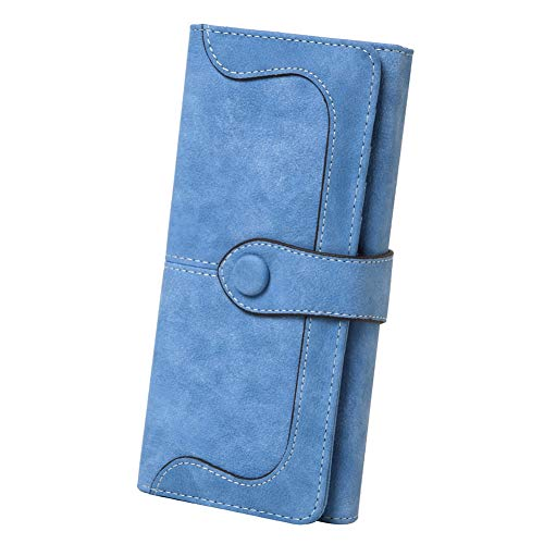 Women's Vegan Leather 17 Card Slots Card Holder Long Big Bifold Wallet,Light Blue - Fold Over Leather