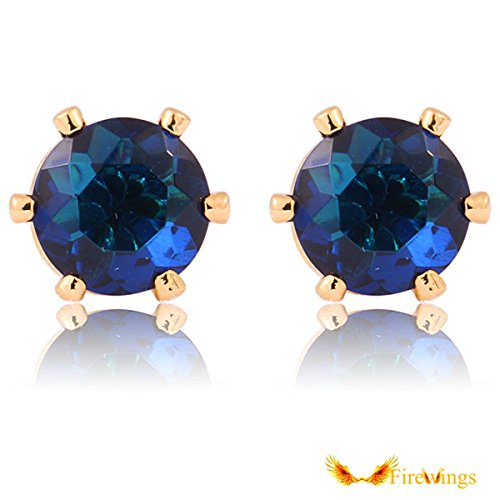 Firewings 14K Gold Plated 3D Pyramid Earrings Gold Tone with Black Medallion Shaped