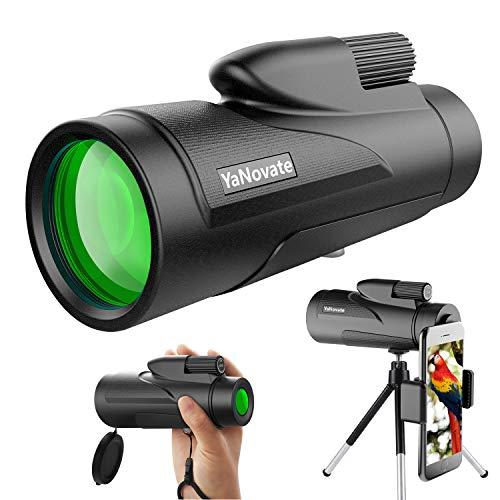 YaNovate 12X50 Monocular Telescope, High Definition Monocular for Adults Kids with Smartphone Holder & Tripod, Scope Compact Waterproof Starscope, FMC BAK4 Prism for Wildlife Bird Watching Hunting