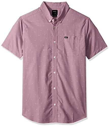 RVCA Men's Thatll DO Print Short Sleeve Woven Button Front Shirt, Dusty Plum, -