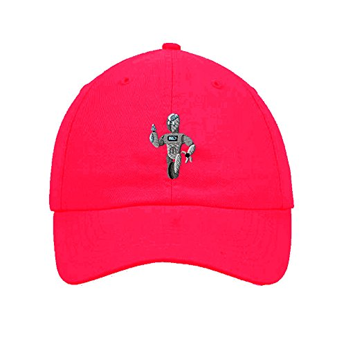 Speedy Pros Cotton 6 Panel Low Profile Hat Kids Robot On Wheel Embroidery By Hot Pink