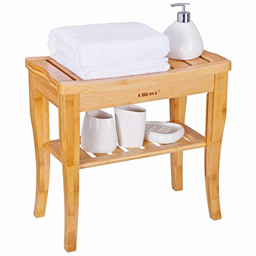 Ollieroo Bamboo Shower Bench Seat Wooden Spa Bench Stool with Storage Shelf, Bath Seat Bench Stool Bath & Shower Transfer Benches