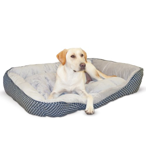 (K&H Pet Products Self-Warming Lounge Sleeper Pet Bed Large Black Square Print 32