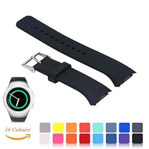 For Samsung Gear S2 SM-R720/R730 Watch Replacement Band - Feskio Accessory Small/Large Size Soft Silicone Wristband Strap Smartwatch Sport Band Fit for Samsung Galaxy Gear S2 SM-720/SM-730 Smartwatch