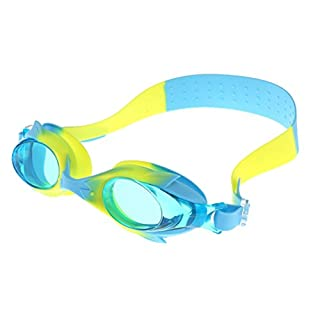 Kids Swim Goggles Waterproof Swim Goggles Clear Vision Swim Glasses for Child Boys Girls Early Teens Anti Fog UV Protection Hypoallergenic Silicone Frame and Strap Child Swim Goggles(Blue and Yellow)