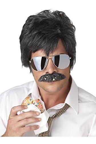 [8eighteen Ace Ventura Detective Costume Wig and Moustache (Black/Silver)] (Ace Ventura Halloween Costume Wig)