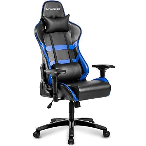 Modern Luxe Racing Gaming Office Chair Executive High Back Reclining Chair Lumbar Support Ergonomic with Headrest (Blue) Merax