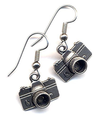 Photo Camera Earrings, Pewter Camera Charms Earrings, Surgical steel Earrings, Photography Lovers Earrings, Handmade jewelry by AnnaArt72