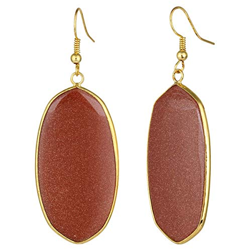 - TUMBEELLUWA Crystal Quartz Stone Dangle Hook Earrings Oval Gold Plated, Gold Sand Stone