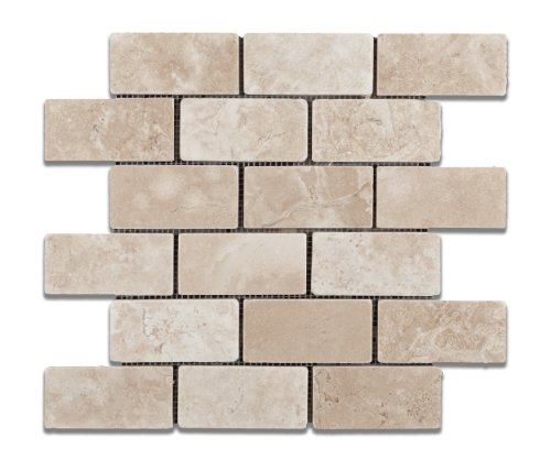 Durango Cream (Paredon) Travertine 2 X 4 Tumbled Brick Mosaic Tile - Box of 5 Sheets - Mosaic 12x12 Sheet