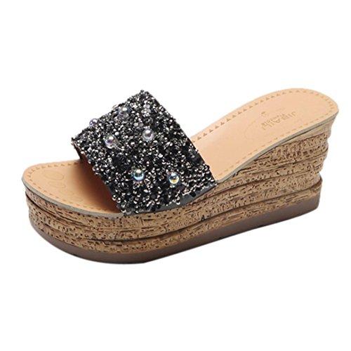 Shoes Sandal Flip Slippers Glitter Platform On Women hunpta Gladiator Casual Slip Black Flops qIAwBgPx