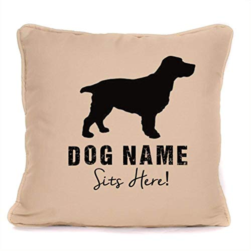 Springer Spaniel Poodle - Personalised Dog Gift Pillow Case - Springer Spaniel Sits Here - Customizable Cushion Cover - 18 x 18 Inch