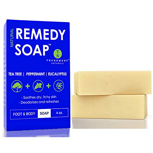 Remedy Natural Tea Tree Oil Soap Bar for Men/Women (Pack of 2) - w/Peppermint & Eucalyptus - Face & Body Soap for Acne, Body Odor, Skin Irritations & All Skin Types by Truremedy Naturals